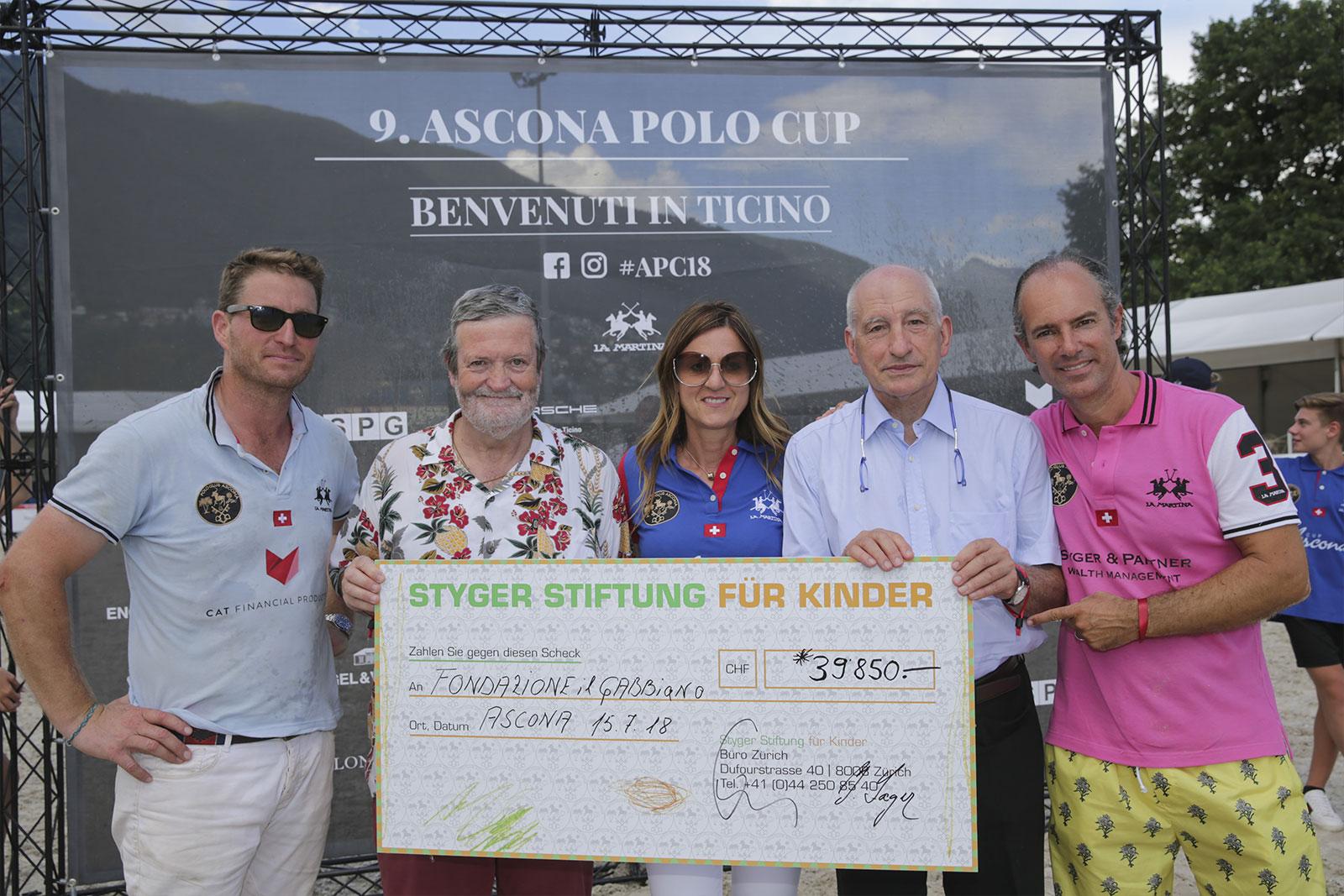 Assegno Fondazione Gabbiano Polo Ascona 2018